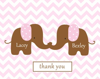 Chevron note card baby thank you  yellow twins notes baby twins chevron elephant thank you stationery baby shower gift