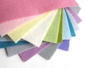 Pastel Felt, Pure Merino Wool, Set of Twelve Sheets, 6 x 8 Inch, Wool Assortment, Embroidery Floss, Stuffing, DIY Felt Set, DIY Felt Flowers