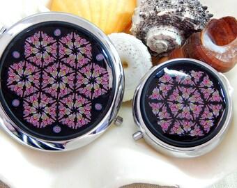 The Mirror and the Tin Collection Hawaiiana Compact Mirror Mint Tin Kaleidoscope Millefiori in Polymer Clay