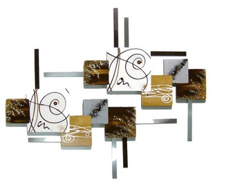SMALL Stylish Unique Vanilla & Brown Contemporary Beautiful Abstract Floral Wall Sculpture Wood Art with Metal