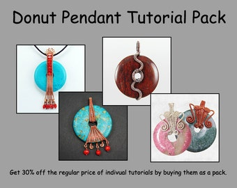 Wire Wrapped Donut Pendant Tutorial Pack - Wire Jewelry Tutorials - Save 30%