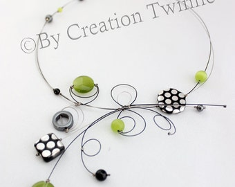lime green necklace, unique handmade, bridal jewelry,funky necklace, bridesmaids gift ,mothers days gifts, delicate jewelry, wedding jewelry