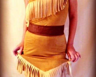 Costume indian princess made to order custom all size in suede cosplay