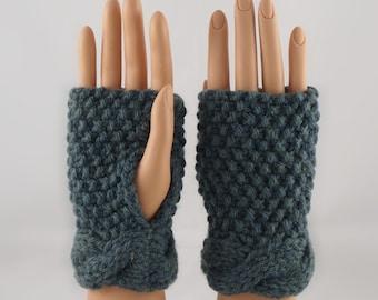 Hand Knit Wrist Warmers, Fingerless Gloves in Nantucket Wool