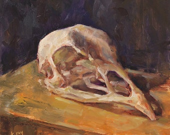 Original Oil Painting by Kathleen Coy. Turkey Skull.
