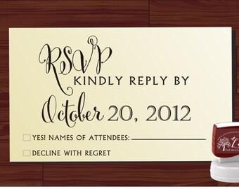 RSVP modern design Calligraphy Handwriting Script font self inking stamp -style 6060  - custom wedding stationary