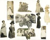 Vintage Victorian Photo Cut Outs Ladies Men And Children Antique Photograph Scraps Lot Of 10