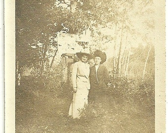 Vintage Photograph Ladies In Big Western Hats Under The Trees Antique Photo
