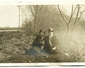 Vintage Photograph Romantic Young Lady And Man By Misty River Antique Nature Photo