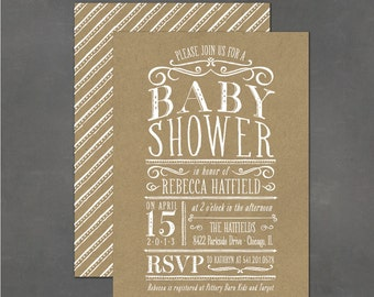 Printable Baby Shower Invitation - Kraft Party Invite, DIY print your own party invite