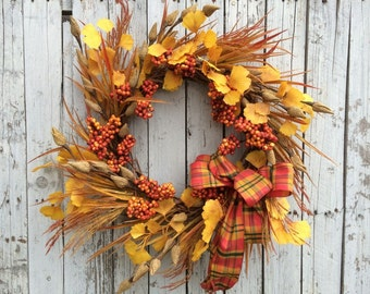 Fall Berry Wreath, Autumn Door Decor, Fall Floral Wreath, Bright Orange