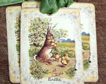 Joyful Easter Bunny Chick Gift or Scrapbook Tags or Magnet #339