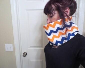 Sale Denver Broncos Cowl - Cotton Fleece Cowl - Broncos Cowl - Denver Broncos Cowl - Orange  Blue and White Cowl