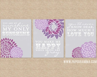 You are My Sunshine Art Prints, nusery artwork, 3 Print Set, Custom match colors to your nursery/room // N-G03-3PS AA1