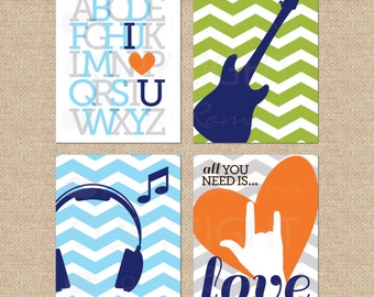 All you Need is Love sign, Rock and Roll Nursery Art prints, Beatles Art // Modern Musical Nursery/Kids Giclée Art Prints // N-G06-4PS AA1