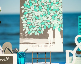 Guestbook Wedding Tree Art // Print With Personalized Skyline & Silhouette // Wedding Art Keepsake // 175 Signature // W-T05-1PS HH3