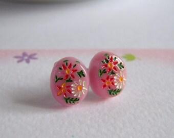 Retro Pink Floral Stud Earrings, Vintage Style, Painted Flower, Stainless Steel Post Earrings