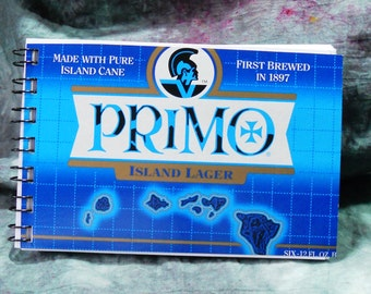 Spiral Notepad from Recycled Primo Island Lager 6-Pack Beer Carton