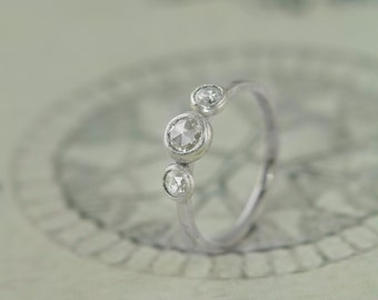 Romantic Rose Cut Diamond Engagement Ring Ethical and Recycled
