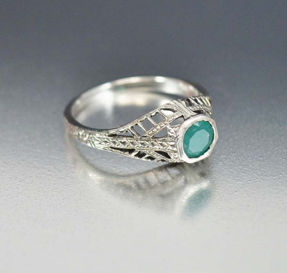 Emerald Ring Solitaire Unique Engagement Ring Sterling by boylerpf