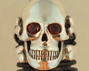 Skull Ring Silver - Skull Jewelry - Large Skull and Crossbone Ring - Garnet Eyes Silver - Biker Jewelry Biker Ring Silver Skull