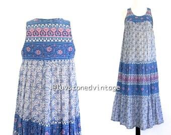 70s Vintage Pakistan Indian Cotton  Boho Hippie Tank Ethnic India Festival Midi Tent Dress Chambeli . XS . S . 754.2.23.14