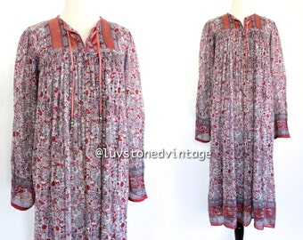 Vintage 70s Indian Dress Ethnic Boho Hippie Cotton Gauze Metallic Lurex India Gypsy Festival Tent Midi Maxi Dress . XS . SM . 791.5.5.14