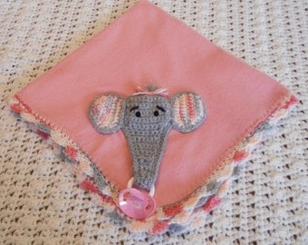 Elephant Pacifier/Toy Holder Pink Fleece Baby Blanket