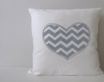 Chevron Heart Pillow Cover - Cushion Cover - 16 x 16 inches - Choose your fabric and ink color - Accent Pillow
