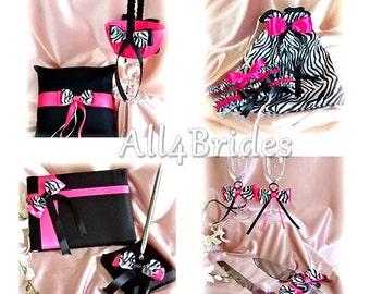 Zebra Wedding Flower girl basket, ring pillow, guest book, garters,bag  flutes, cake set, 12pc Hot Pink Wedding Color