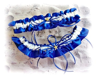 Starfish Bridal Garter Set , Something Blue Royal Blue Beach Wedding Leg Garter Set