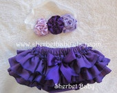 SET Headband Trio Ribbon Rose with Violet Classic Style Sassy Pants Ruffle Diaper Cover Bloomers