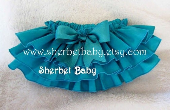 Teal Classic Style Sassy Pants Ruffle Diaper Cover Panty Teal Blue / Green / Peacock