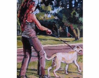 Dog Painting Dog Art Dog Lover Painting Girl Walking Her Dog Art Figurative  Print Painting by Gwen Meyerson