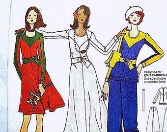 1970s BETSEY JOHNSON Pattern Misses size 10 UNCUT Tunic, Maxi Dress Pattern, High Waisted Flared Leg Pants