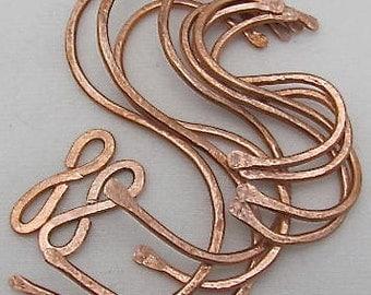 """Hand Hammered Copper """"S""""  Pot Rack Hooks (set of 10 items). Sampler set."""