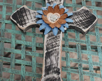 Distressed Cross Embellished With Flowers