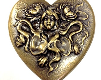 "3 Art Nouveau ""Water Lily Mermaid"" Heart Stamping Charms, Repousse',  (1406) pack of 3"