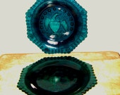 PLATES American Pressed Glass Eagle Stars Pineapple Blue