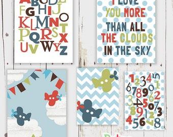 Aeroplane Alphabet Word Nursery Art  Print Set Baby Boy Room Decor