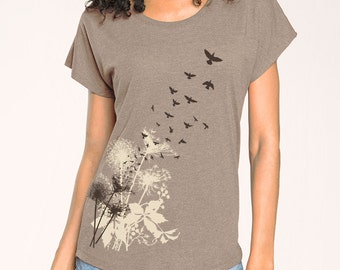 Dandelions Birds in Flight, relaxed fit tee, Dolman sleeve, Taupe Women's t-shirt, Gift for Her, Art T-shirt, Cool t-shirt