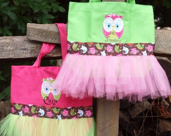 Applique Owl Boutique PetiteTutu Custom Dance Ballet CanvasTote Bag