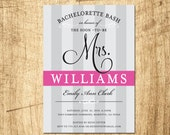 Grey Pink Bachelorette party Invitation - Digital Download