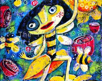 "Bee Fairy  Instant Download 8"" X 10""  print ble art from original mixed media contemporary raw folk art"