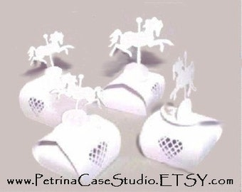 """Carousel Horse Favor box SMALL WHITE 3""""H x 1-3/4""""W Item 8051-s -made in the USA"""