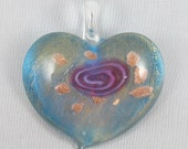 Glass Heart Pendant 50mm x 46mm In Blue Pink & Copper