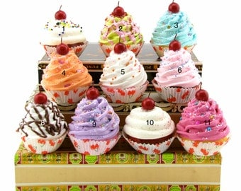 "Fake Cupcakes ""Cherry Collection"" Your Choice (4) Mini Cupcakes Can Be Magnet/Ornament Fab Fridge Decor, Candyland Christmas, Bakery Decor"