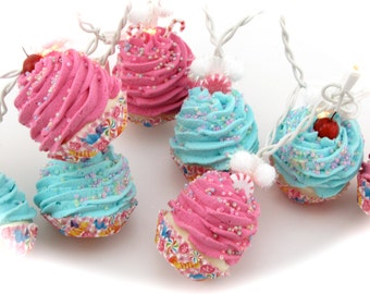 Candy Land Cupcake Lights String of Lights 10 Mini Cupcakes w/Candy Fab Bakery, Kitchen Decor First on Etsy 12 Legs Original Design/Concept
