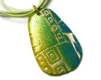 Resin Pendant Necklace Embossed Polymer Clay Art Pendant Jewelry Gold Leaf Glitter Lime Green Ribbon Cotton Cord