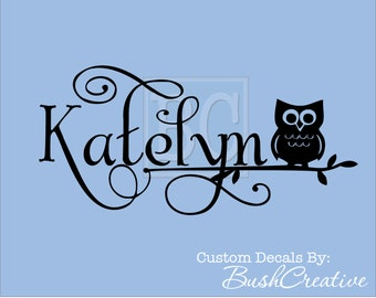 Wall Decal Personalized Little Girls Name Owl Decor Owl Wall Decal Owl Nursery Decal Owl Wall Decal Nursery Decor Vinyl Wall Decal 128